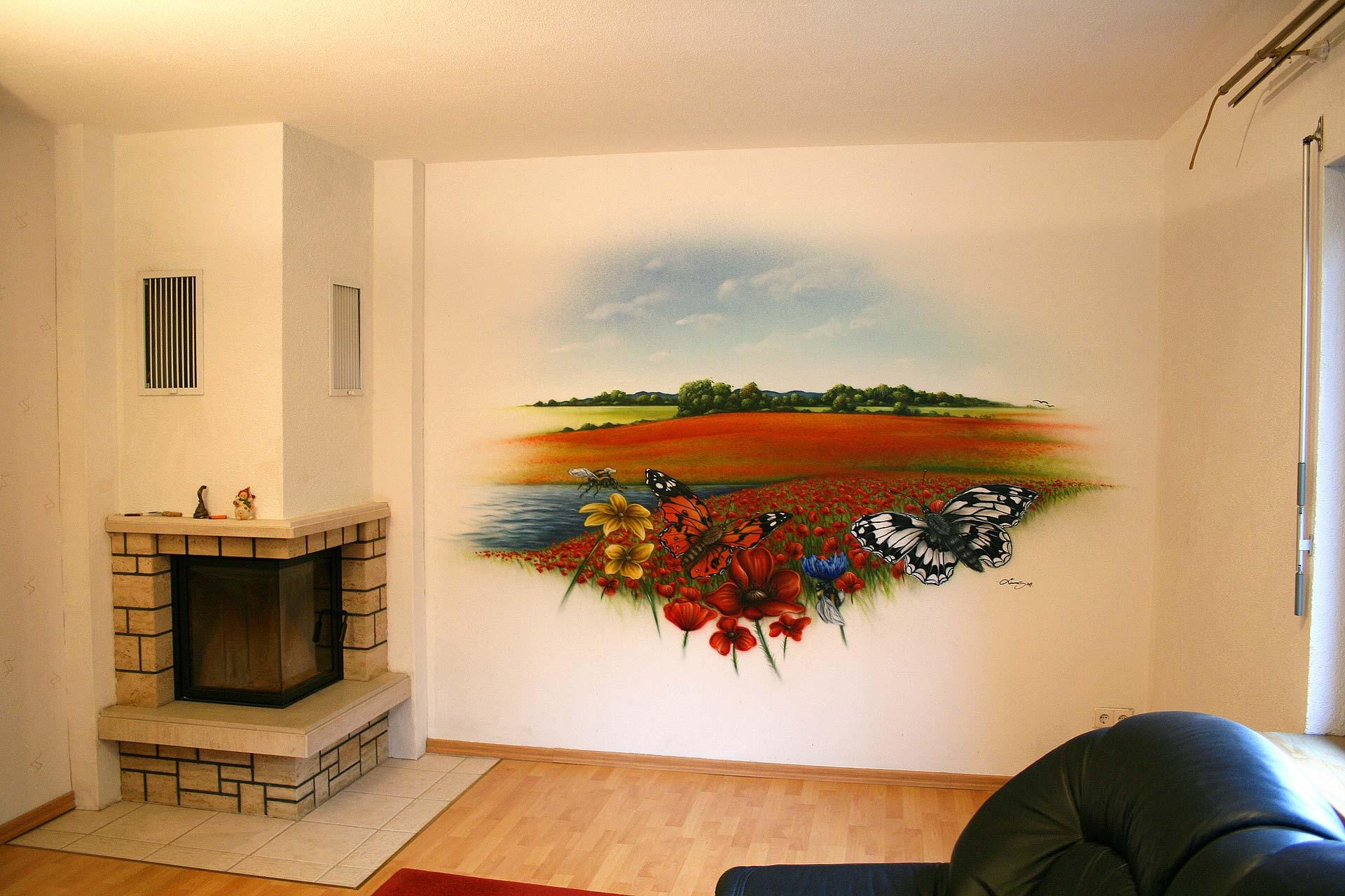 Wohnzimmerwand Sommerwiese